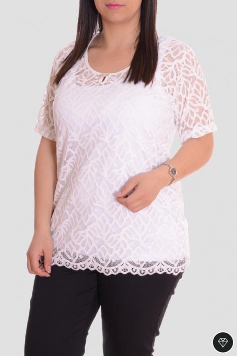 Дамска блуза от дантела в бял цвят снимка 1