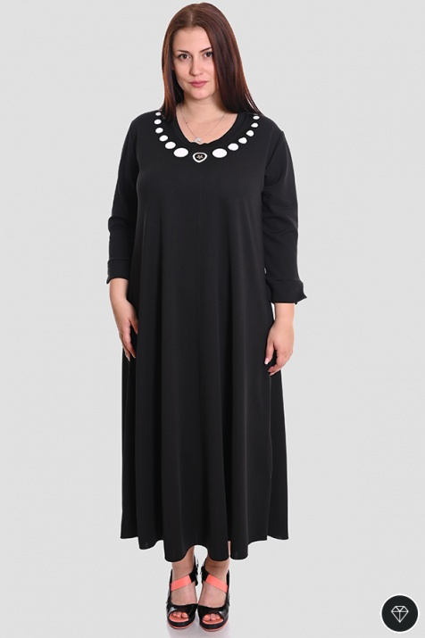 Дамска разкроена рокля в черно Колие снимка 2