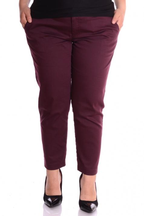 Елегантен дамски летен панталон в цвят марсала снимка 2