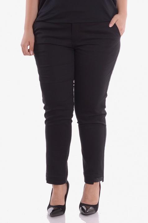 Елегантен дамски панталон в черно с ефектни камъчета снимка 1