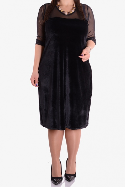 Елегантна рокля от черно кадифе с тюл снимка 1