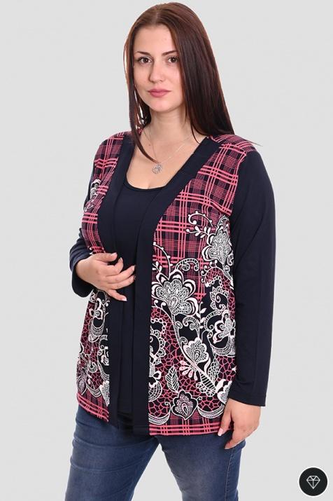 Есенна блуза в големи размери с пришита част снимка 1