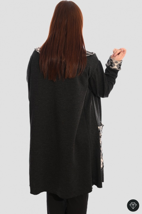 Макси жакет в черно с голяма яка снимка 1