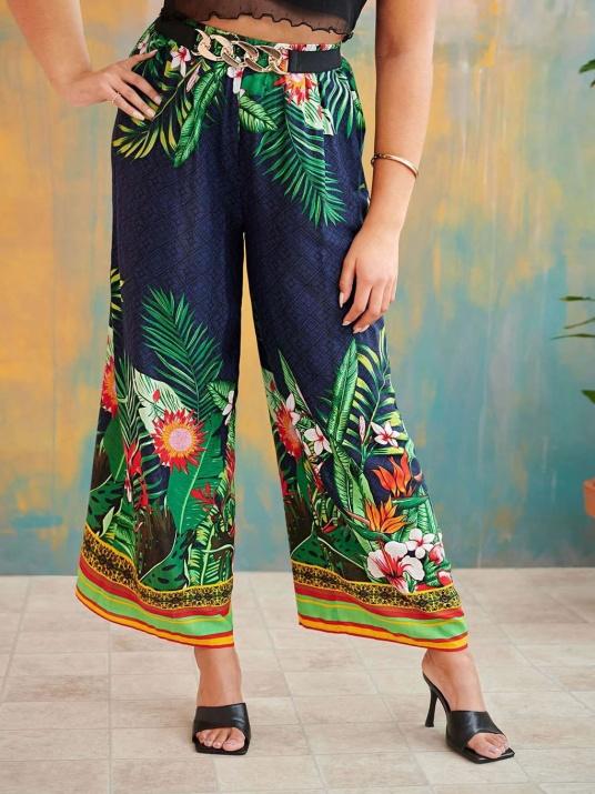 Pantaloni florali eterici cu elastic în talie