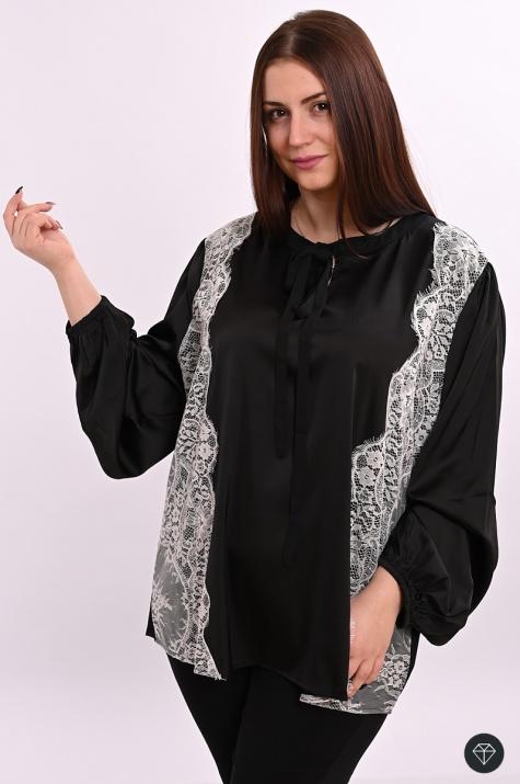 Официална блуза с широки ръкави от сатен снимка 1