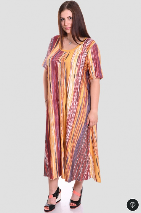 Разкроена макси рокля в огнени цветове снимка 1