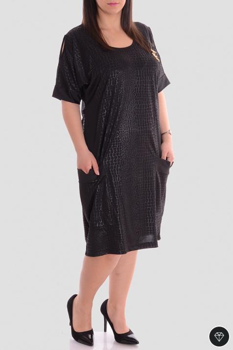 Спортно-елагантна макси рокля с джобчета и брошка N снимка 1