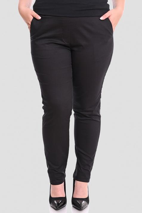 Стилен черен панталон с ластик големи размери снимка 3